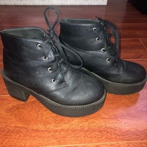 Shoes - Black lace up Chunky Platform Boots